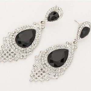 Long Drop Black Rhinestone Earrings